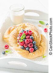 케이크, 나무딸기, blueberries, 맛좋은, 효모
