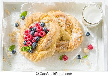 케이크, 나무딸기, blueberries, 상쾌한, 효모