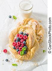 케이크, 나무딸기, blueberries, 신선한, 효모