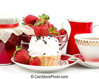케이크, 디저트, strawberr, -, 단 것