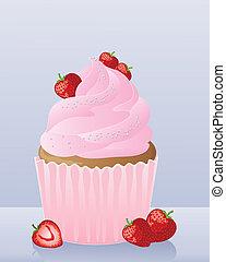 케이크, 딸기, 컵