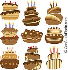 케이크, 떼어내다, 생일, 세트