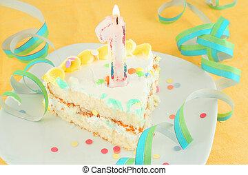 케이크 박편, 생일, 처음