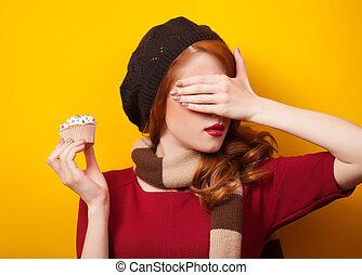 케이크, 배경., 소녀, 황색, 붉은머리딱따구리