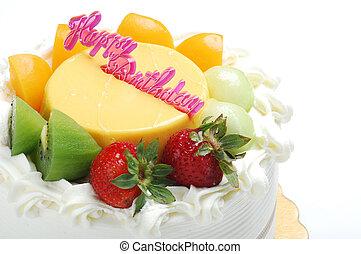 케이크, 백색, 생일, 고립된, 배경