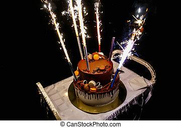 케이크, 불꽃 놀이, 생일