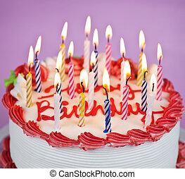 케이크, 불을 붙이게 된다, 생일 초