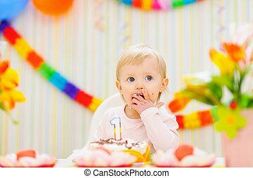 케이크, 생일, 먹다, 아이, 처음