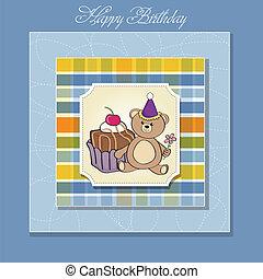 케이크, 생일, 인사장