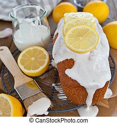 케이크, 서리로 덥음, 레몬, 집에서 만든