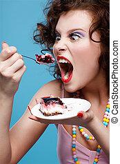 케이크, 소녀, 먹다