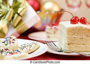 케이크, 소량, 서리로 덥는, 산산조각