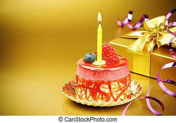 케이크, 양초, 생일, 다채로운