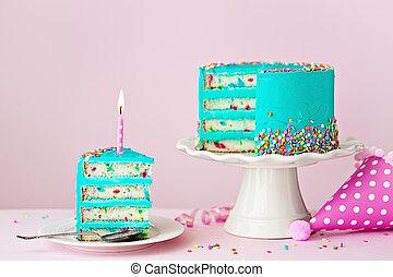 케이크, 양초, 생일, 다채로운, 하나