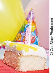 케이크, 양초, 생일, 레몬