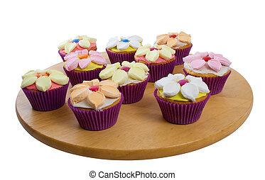 케이크, 위의, 백색 배경, 컵