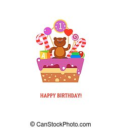 케이크, 첫번째 생일, 곰, 행복하다