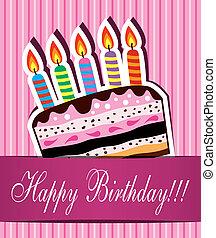 케이크, 초콜릿 과자, 카드, 생일, 벡터