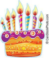케이크, 초, 생일, 다채로운