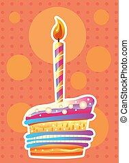 케이크, 초, 생일 카드