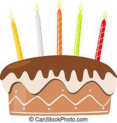 케이크, 초, 생일, 타는 것, 벡터