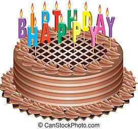 케이크, 초, 생일, 타는 것