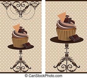케이크, 컵, 초콜릿 과자