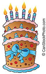 케이크, 크게, 만화, 리본