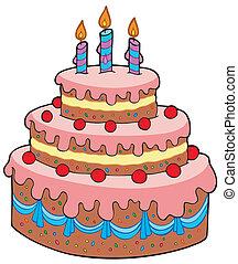 케이크, 크게, 생일, 만화