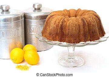 케이크, 파운드, 레몬, 고립된