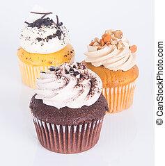 케이크, cupcake., 배경, 컵