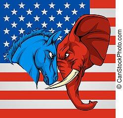 코끼리, 당나귀, 민주당원, 공화당원, 싸움