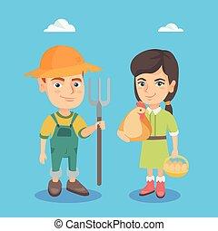 코카서스 사람, 소년과 소녀, 와, 닭, 와..., rake.