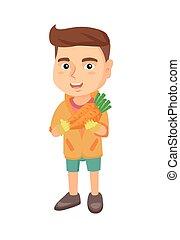 코카서스 사람, 소년, 보유, 신선한, carrot.