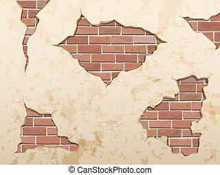 콘크리트 벽돌, 늙은, 지저분한, 갈라진 금