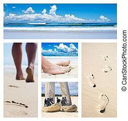 콜라주, 발자국, 바닷가, 구두, 발