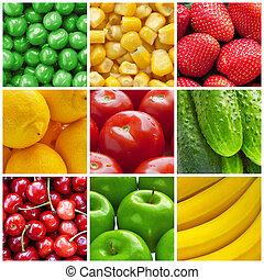 콜라주, 신선한 야채, 과일