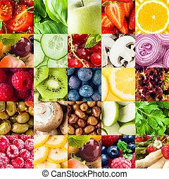 콜라주, 야채, 과일, 배경, 다채로운