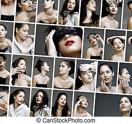 콜라주, 유행, 얼굴, 아름다움, 메이크업