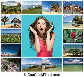 콜라주, 자메이카, 휴일, 바닷가, 장소