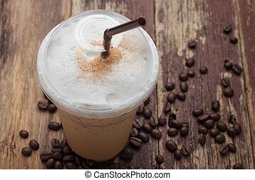 콩, 얼음으로 덮인, 혼합하는, 커피, frappucino
