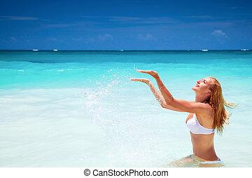 쾌활한, 바닷가, 여성