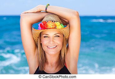 쾌활한, 소녀, 바닷가