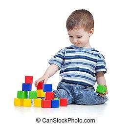 쾌활한, 아이, 소년, 와, 설정되는 건설, 위의, 백색 배경