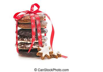 쿠키, 빨간 백색, 리본, 크리스마스