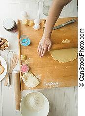 쿠키, 빵 굽기, 멍청한, 반죽, 테이블, 제작, 성분