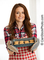 쿠키, 여자, 빵 굽기, 부엌