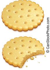 쿠키, 파삭파삭한, 백색, 고립된
