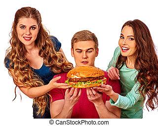 크게, 그룹, 햄버거, 보유, 사람
