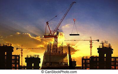 크게, 기중기, 와..., 건물 건설, 향하여, 아름다운, 어스레한, 하늘, 사용, 치고는, 건축 산업,...